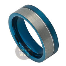 Men's 8mm 2-Tone Pipe-Cut Blue IP Tungsten Ring w/ Grooved Off-Center TS7410
