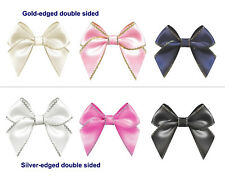 NEW 45mm Bows Gold/Silver Edged Double Sided Satin Ribbon Eco Quality Craft Gift