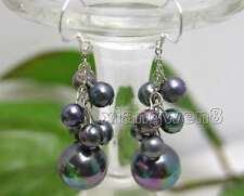 6-7mm Round Black Natural Pearl and 12mm Sea Shell Pearl Dangle earring-ear118