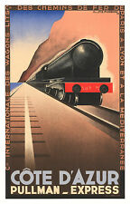 Cote D'Azur Train Vintage Illustrated Travel Poster Print on canvas