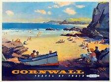 Cornwall train rail uk Vintage Illustrated Travel Poster a Print  on canvas 90cm