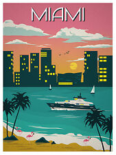 Miami Art Deco Vintage Illustrated Travel Poster Print on canvas 36""