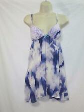 NWT Linea Donatella Babydoll Chemise Violet with Lace Trim & Ruffles Size Small