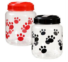 Plastic Paw Print Design Pet Dog Cat Treat Jar Plus Biscuit Cutter & Recipes