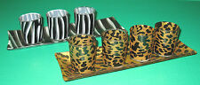 Glass votives candle holders and trays 4 pc Zebra OR 5 pc Leopard