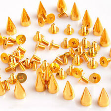 100Pcs 13mm Gold Cone Spots Metal Studs And Spikes For Clothing Bullet Punk DIY