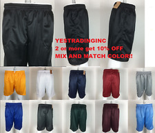 New Plain Gym Shorts Jersey Athletic Fitness Workout Mesh Shorts w Pockets S-5XL