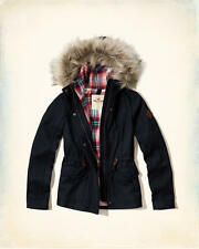 Abercrombie & Fitch – Hollister Womens Jacket Anorak Wool Hooded Fur XS Navy NWT