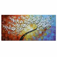 White Maple Tree Abstract 3D Flowers Oil Paintings Canvas Modern Home Decoration