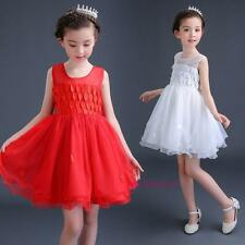 New 2017 Summer Kids Young Girls Sweet Leaves Dance Princess Tutu Dress Party