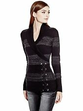 Guess Womens Shawl Collar w- Lace Up Detail Sweater Jumper Top XS or S Black NWT