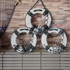 Nautical decor φ32cm wood Life Ring Beach Home Pub Store WELCOME Sign Plaques