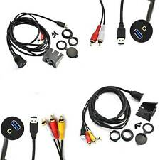2M/6.6FT USB 3.0 & 2RCA/3RCA Male to USB 3.0 & 3.5mm Female Dash Flush Cable New