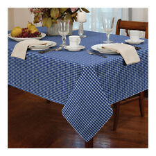 Gingham Check Kitchen Table Cloth - Traditional Dining White & Blue Tablecloth