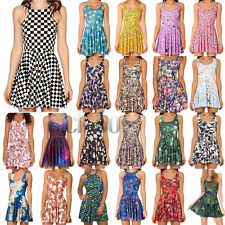 3D Graphic Printed Summer Casual Sleeveless Dress Skater Two Way Singlet Dress
