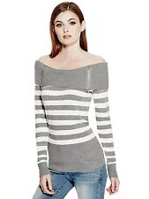 GUESS Womens Off The Shoulder Sweater Top Jumper w- Zips S M L Grey Stripe NWT