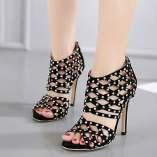 Sexy Black Hollow Out Sandal Boot Peep Toe Stiletto Rivet High Heel Womens Shoes