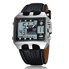 Ohsen Square Dual Display Men Lady Digital Quartz Wrist Watch Leather WaterProof