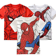 Kids Girls Boys Spiderman Tops Short Sleeve T-Shirts Summer Tee Blouse 2-7 Years
