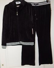 NWT JUICY COUTURE VELOUR TRACKSUIT HOODIE & BOOTCUT PANTS BLACK TIE LUREX L; XL