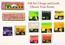 Thai Handmade Natural Soaps Gift Set ,Choose your own scents for 3 soaps + loofa
