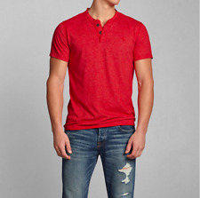 NWT Abercrombie & Fitch men Colden Dam henley shirt Tee size XL red