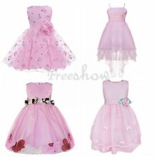 Pink Lovely Kids Girls Baby Flower Princess Gown Wedding Party Pageant Dress