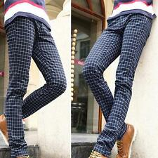 Fashion Mens Linen Cotton Plaid Straight Leg Slim Fit Skinny Pants Trousers Size