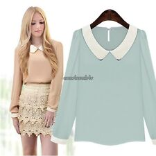 New Women Fashion Long Sleeve Doll Collar Casual Sweet Chiffon Top Shirt CLSV01