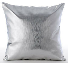 Metallic Silver Faux Leather 35x35 cm Cushion Covers - Silver Leather Strokes