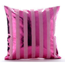 Pink Metallic Stripes 35x35 cm Faux Leather Cushions Covers Couch - Born 2 Party