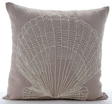 Beaded Oyster 40x40 cm Cotton Linen Mocha Cushions Cover - Scallop Shell