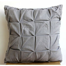 Grey Linen Texture - Grey Cotton Linen 55x55 cm Cushion Cover