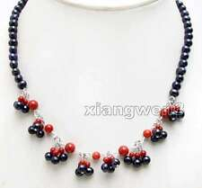SALE 5-6mm Round Black Natural Pearl & Red Coral 8 pendants 17'' Necklace-n6325