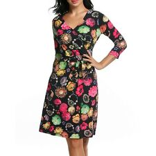 Zeagoo Women's Crossover V-Neck 3/4 Sleeve Floral A-Line Dress w/ OO5501