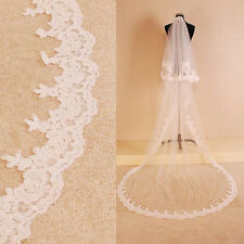 Elegant Stock White/Ivory 2T Lace Edge Cathedral  Bridal Wedding Veil With Comb