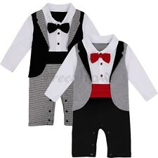 Baby Boy Wedding Romper Bow Tie Tuxedo Formal Suit Party Jumpsuit Outfit Clothes
