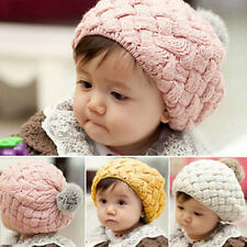 New Baby Kids Toddler Winter Warm Handmade Crochet Knitting Beanie Hat Beret Cap