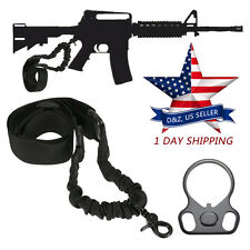 AR-15 .223 .556 Rifle Single One Point Tactical Adjustable Sling + Adapter Plate