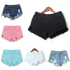 Women Girls High Waisted Washed Ripped Hole Short Mini Jeans Denim Pants Shorts