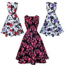 Womens Summer Classic Floral Retro Vintage Style Rockabilly Party Swing Dress