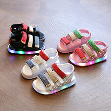 Hot LED Kid Boys Girls Summer Sandals Child Leather Toddler Beach Casual Shoes