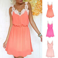 Women Casual Floral Lace V-neck Chiffon Dress Evening Party Cocktail Mini Dress