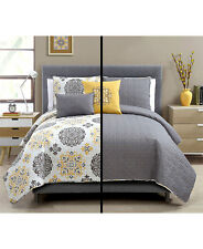 5 PC REVERSIBLE QUILT SET PILLOW SHAMS~FULL/QUEEN KING SIZE~HOME BEDROOM DECOR