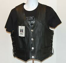 River Road Mens Wyoming Leather Vest Black