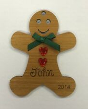 ENGRAVED PERSONALISED CHERRY WOOD GINGERBREAD MEN MAN BOY CHRISTMAS DECORATION