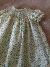 READY TO SMOCK  FLOWER PRINT BISHOP DRESSES SIZES 3MOS TO 3T