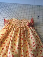 READY TO SMOCK  RE AND YELLOW  FLOWER PRINT BISHOP DRESSES SIZES 3MOS TO 3T