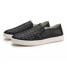 Weave Pattern Loafers Slip Ons Casual Mens Boy Walking Pull On Shoes