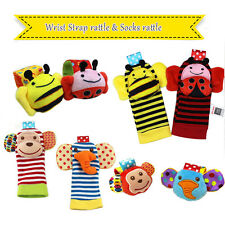 Baby Wrist Rattle Baby Toy Animal Socks Wrist Strap Toys Plush Handbells Rattle